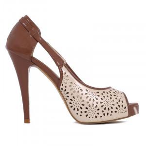 Pantofi cu toc cod L045 Bej - Pantofi cu toc înalt și platformă, din piele ecologică perforată - Deppo.ro