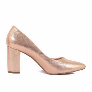 Pantofi cu toc cod LP1111 Champagne - Pantofi cu vârf ascuțit şi toc gros din piele ecologică, foarte confortabili cu un calapod comod - Deppo.ro