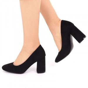 Pantofi cu toc cod OD0073 Negri - Pantofi din piele ecologică întoarsă de înaltă calitate cu toc pătrat 8,5 cm şi vârf rotunjit - Deppo.ro