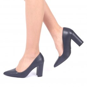 Pantofi cu toc cod OD0134 Navy - Pantofi din piele ecologică, cu vârf ascuţit şi toc subţire, foarte confortabili cu un calapod comod - Deppo.ro