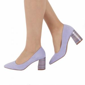 Pantofi cu toc cod OD0204 Purple - Pantofi cu toc gros cu un model deosebit și vârf ascuțit din piele ecologică întoarsă, foarte confortabili potriviți pentru birou sau evenimente speciale. - Deppo.ro