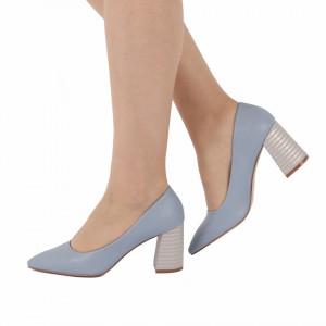 Pantofi cu toc cod OD0205 Albaștri - Pantofi cu toc gros cu un model deosebit și vârf ascuțit din piele ecologică, foarte confortabili potriviți pentru birou sau evenimente speciale. - Deppo.ro