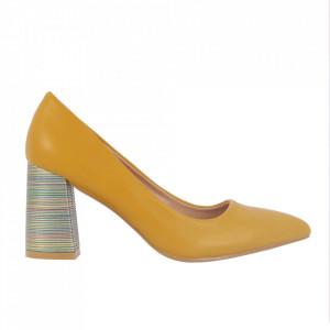 Pantofi cu toc cod OD0205 Yellow