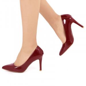 Pantofi cu toc cod SA1770 Wine - Pantofi din piele ecologica lacuita de înalta calitate - Deppo.ro