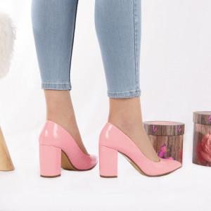 Pantofi cu toc cod SA1779A Roz - Pantofi cu toc gros și vârf ascuțit din piele ecologică, foarte confortabili potriviți pentru birou sau evenimente speciale. - Deppo.ro