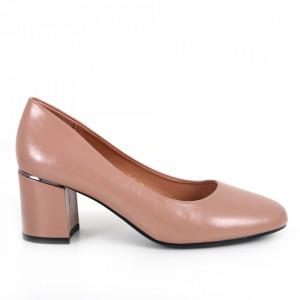 Pantofi cu toc din piele ecologică cod C-101 Nude