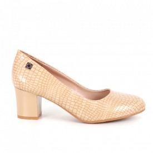 Pantofi cu toc din piele ecologică cod C-90 Apricot