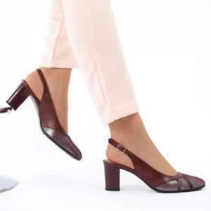 Pantofi cu toc din piele naturală cod 1069 Bordo