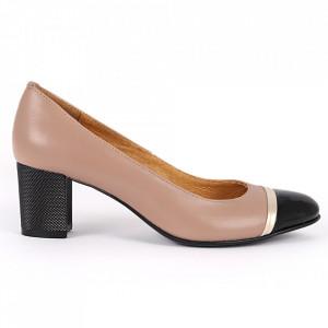 Pantofi cu toc din piele naturală Cod 1223 Coffee