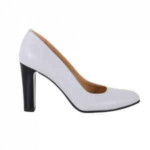 Pantofi cu toc din piele naturală cod 86-1 Gri