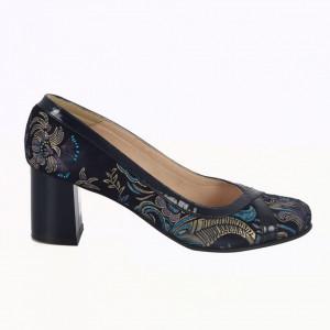 Pantofi cu toc din piele naturală cod 915 Blue