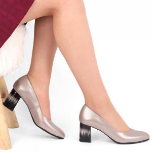 Pantofi cu toc din piele naturală Cod S20 Crom - Pantofi cu toc din piele naturală moale, foarte comozi, acești pantofi vă conferă lejeritate și eleganță - Deppo.ro