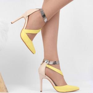 Pantofi cu toc galbeni Cod 17858