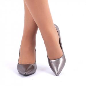 Pantofi Cu Toc Margie Gri - Pantofi cu vârf ascuţit şi toc subţire din piele ecologică, foarte confortabili cu un calapod comod - Deppo.ro