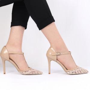 Pantofi cu toc pentru dame cod G3 Beige