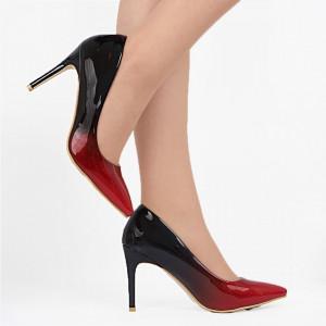 Pantofi Cu Toc SA1731 Roși - Pantofi cu toc din piele ecologică cu un design unic. Fii în pas cu moda şi străluceşte la următoarea petrecere. - Deppo.ro