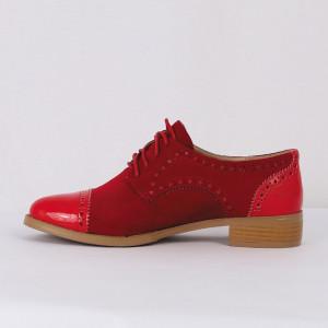 Pantofi din piele ecologică cod TN204-5 Roși - Pantofii îți transformă limbajul corpului și atitudinea. Te înalță fizic și psihic! Pantofi pentru dame din piele ecologică întoarsă șivârf lăcuit - Deppo.ro