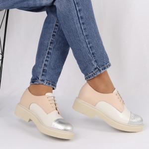 Pantofi din piele naturală bej cu alb Cod 482