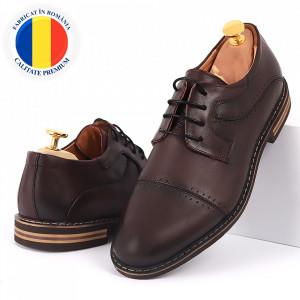 Pantofi din piele naturală bordo cod 77133