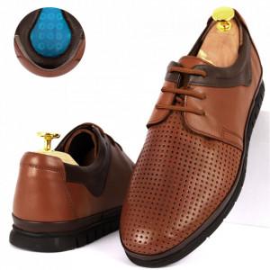 Pantofi din piele naturală Cod 1001-1 Maro