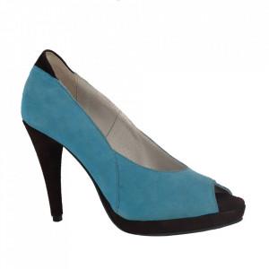 Pantofi din piele naturală cod 1105 Turcoaz