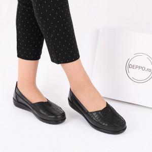 Pantofi din piele naturală cod 118620 Negri