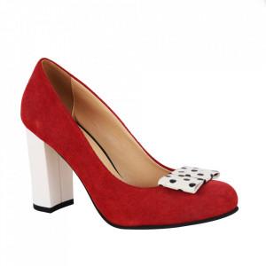 Pantofi din piele naturală cod 12817 Red