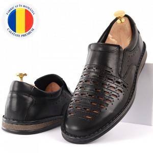 Pantofi din piele naturală Cod 170170 Negrii