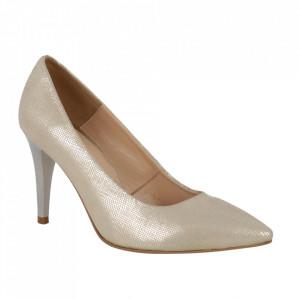 Pantofi din piele naturală cod 30217 Gold