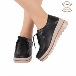 Pantofi din piele naturală cod 3089 Negri - Pantofi pentru dame din piele naturală cu talpă groasă flexibilă și închidere prin șiret - Deppo.ro