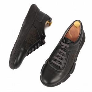 Pantofi din piele naturală cod 5332 Negri - Pantofi din piele naturală, model simplu, finisaje îngrijite cu undesign deosebit prin vârful perforat - Deppo.ro