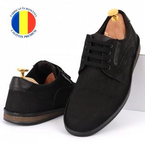 Pantofi din piele naturală Cod 640 Negru