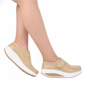 Pantofi din piele naturală cod A333 Beige