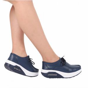 Pantofi din piele naturală cod A345 Navy - Pantofii îți transformă limbajul corpului și atitudinea. Te înalță fizic și psihic! Pantofi pentru dame din piele naturală Talpă ortopedică flexibilă și un calapod comod - Deppo.ro