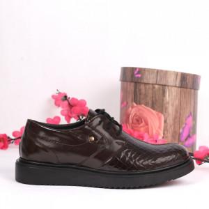 Pantofi din piele naturală maro Cod 2484 - Pantofi damă din piele naturală Închidere cu şiret Calapod comod - Deppo.ro