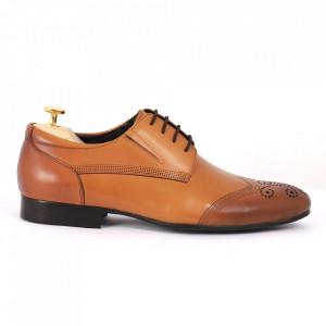 Pantofi din piele naturală maro cod 3262 - Pantofi pentru bărbaţi din piele naturală cu şiret, model simplu, finisaje îngrijite cu un design deosebit - Deppo.ro