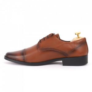 Pantofi din piele naturală maro cod 3286 - Pantofi pentru bărbaţi din piele naturală cu şiret, model simplu, finisaje îngrijite cu un design deosebit - Deppo.ro