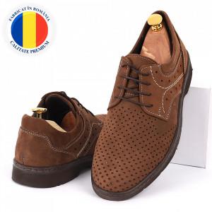 Pantofi din piele naturală maro cod 3288