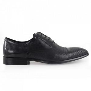 Pantofi din piele naturală maro cod A054-1A Black