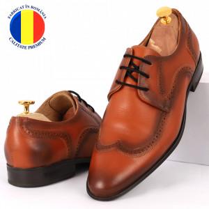 Pantofi din piele naturală maro închis cod 964-DARKBROWN