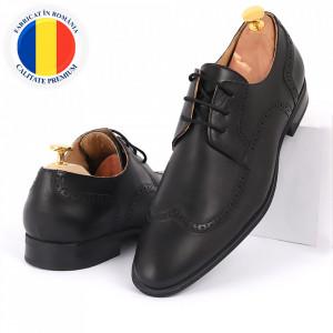 Pantofi din piele naturală negri cod 3250