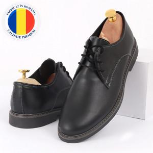 Pantofi din piele naturală negri cod Alex Negru