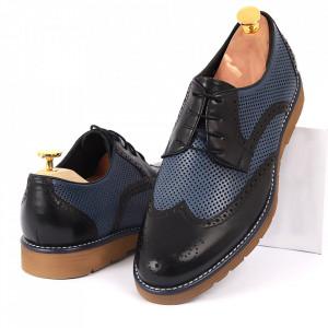 Pantofi din piele naturală negri cu albastru cod 3256