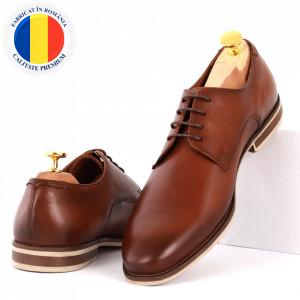 Pantofi din piele naturală pentru bărbați cod 176AB Maro