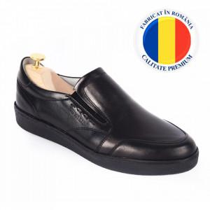 Pantofi din piele naturală pentru bărbați cod 182 Negru