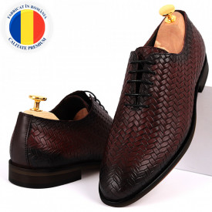 Pantofi din piele naturală pentru bărbați cod 2012 Bordo