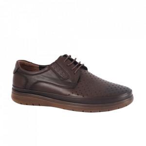 Pantofi din piele naturală pentru bărbați cod 204428 Maro