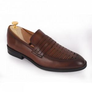 Pantofi din piele naturală pentru bărbați cod 337 Maro