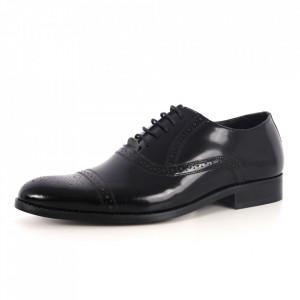 Pantofi din piele naturală pentru bărbați cod 529 Negru - Pantofi pentru bărbați, foarte comozi. - Deppo.ro