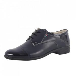 Pantofi din piele naturală pentru bărbați cod 650 Blue